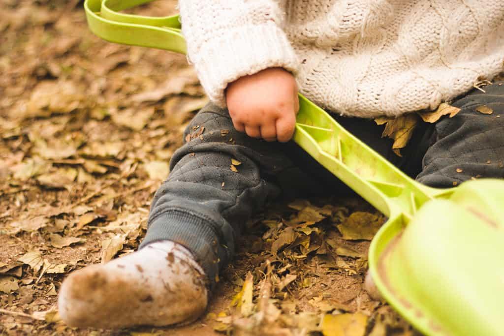 Baby doing outdoor activity